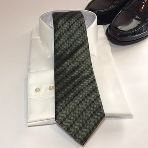 DKNY Geometric Tie Green Silk
